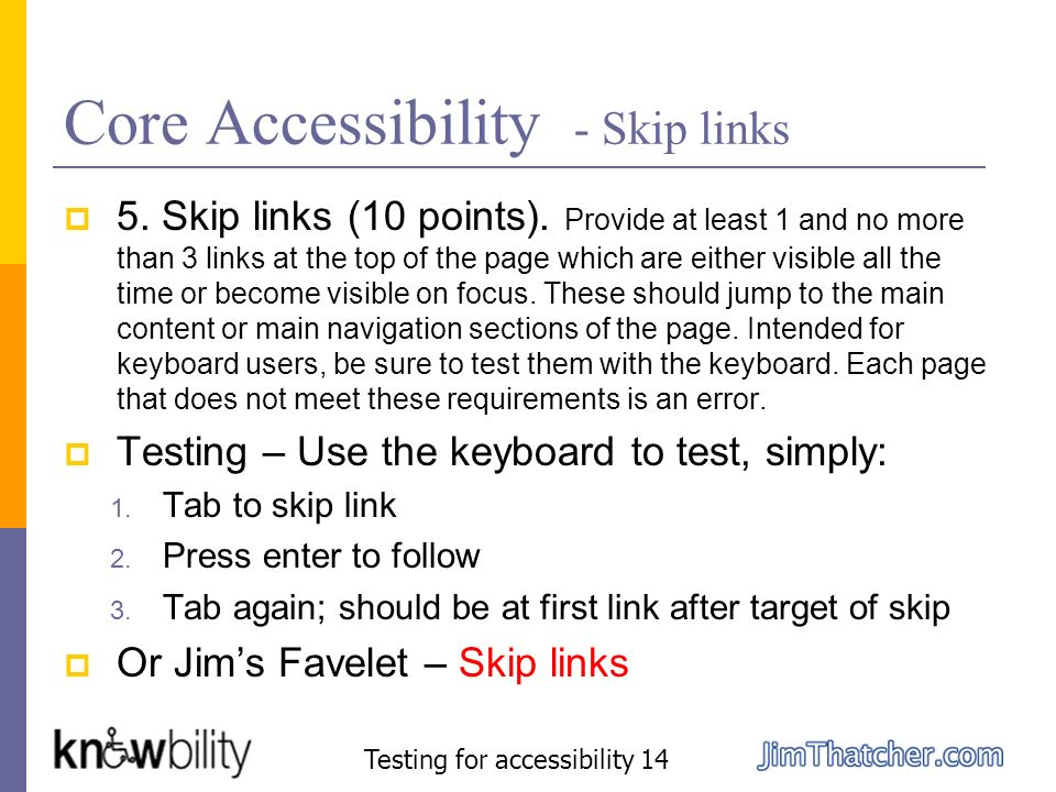 Core Accessibility - Skip links