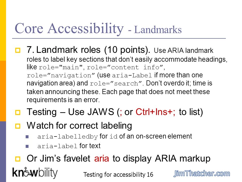 Core Accessibility - Landmarks