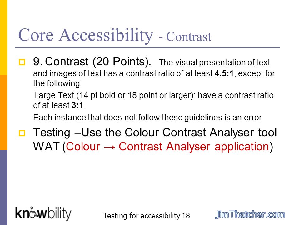 Core Accessibility - Contrast
