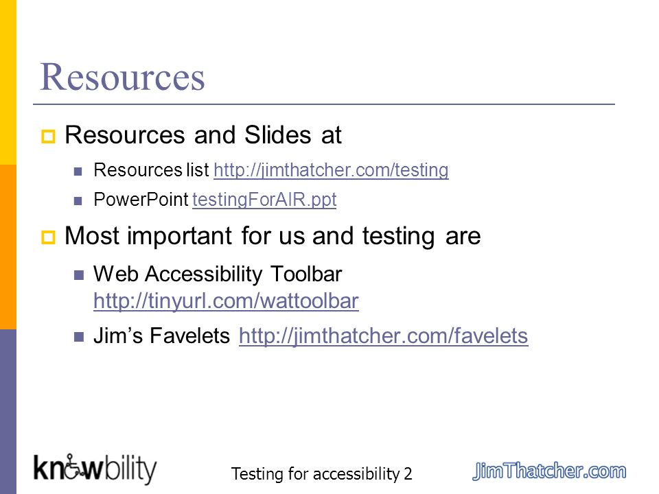 Testing for accessibility 2