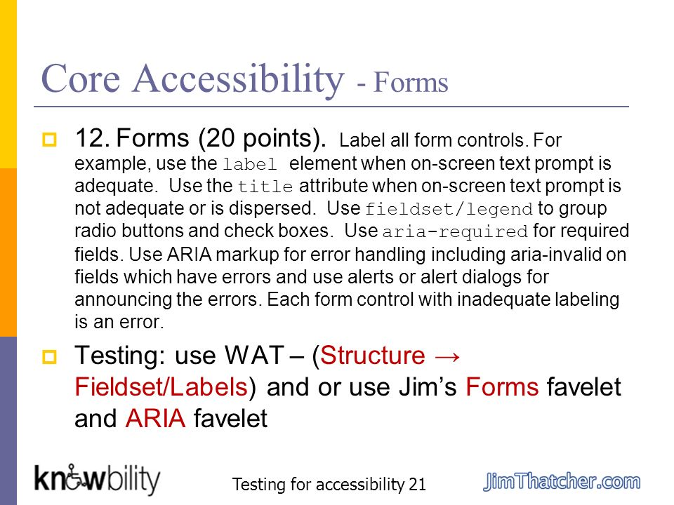 Core Accessibility - Forms