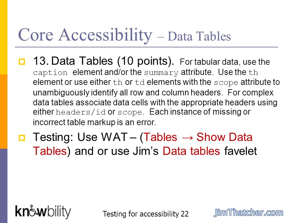Core Accessibility – Data Tables