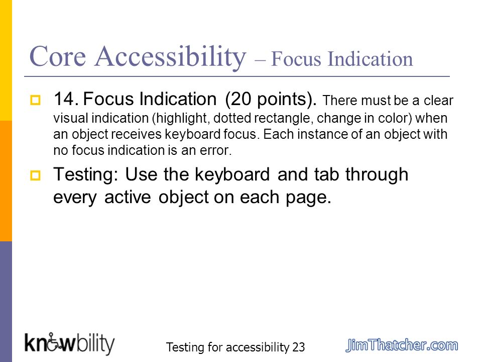 Core Accessibility – Focus Indication