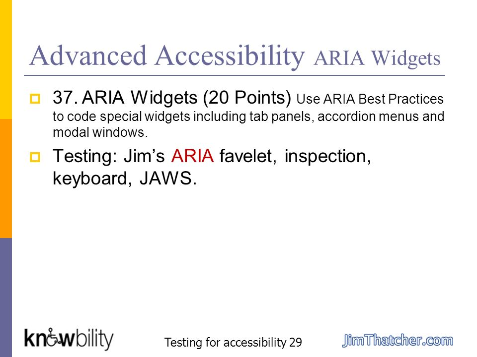Advanced Accessibility ARIA Widgets