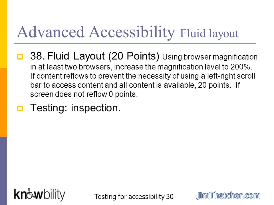 Advanced Accessibility Fluid layout