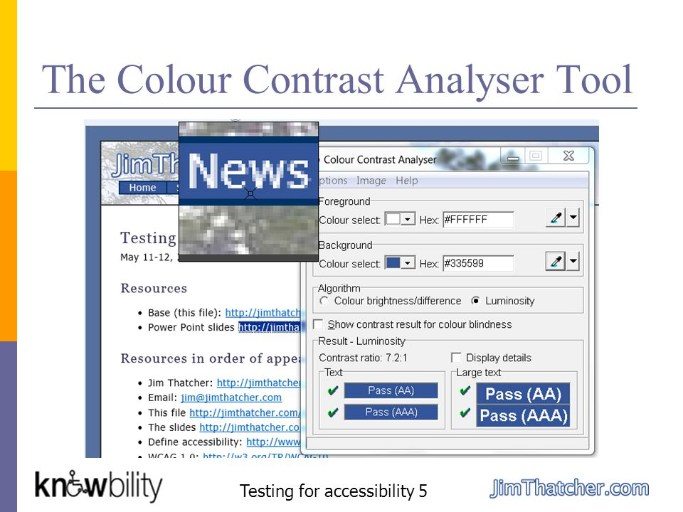 The Colour Contrast Analyser Tool