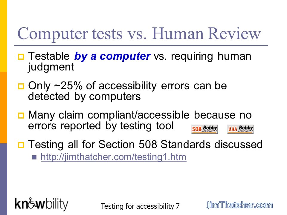Computer tests vs. Human Review