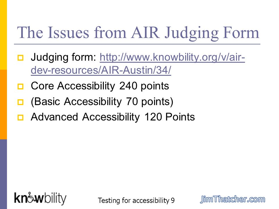 The Issues from AIR Judging Form