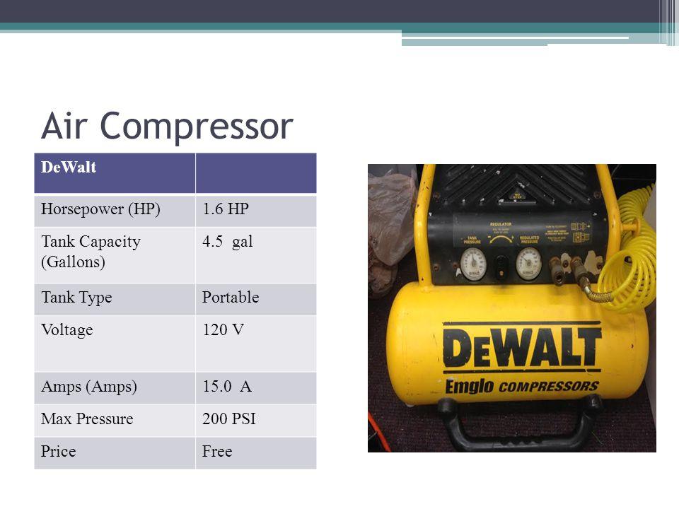 Air Compressor DeWalt Horsepower (HP) 1.6 HP Tank Capacity (Gallons)