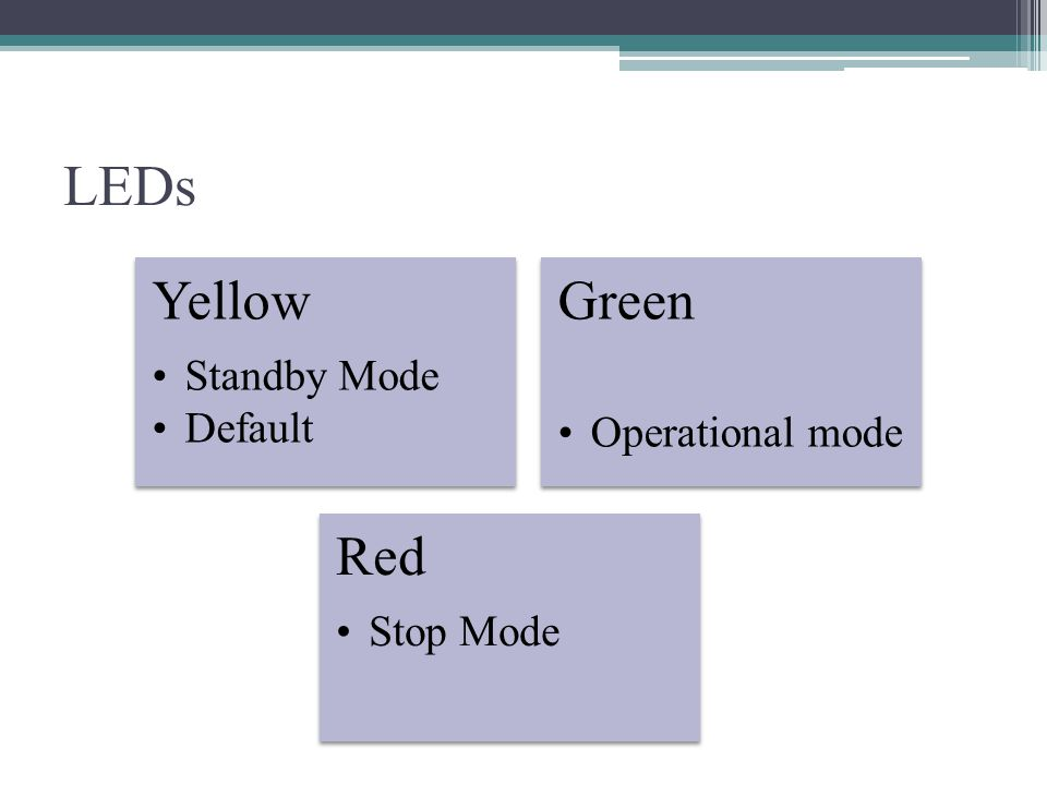 LEDs Green Operational mode Yellow Standby Mode Default Red Stop Mode