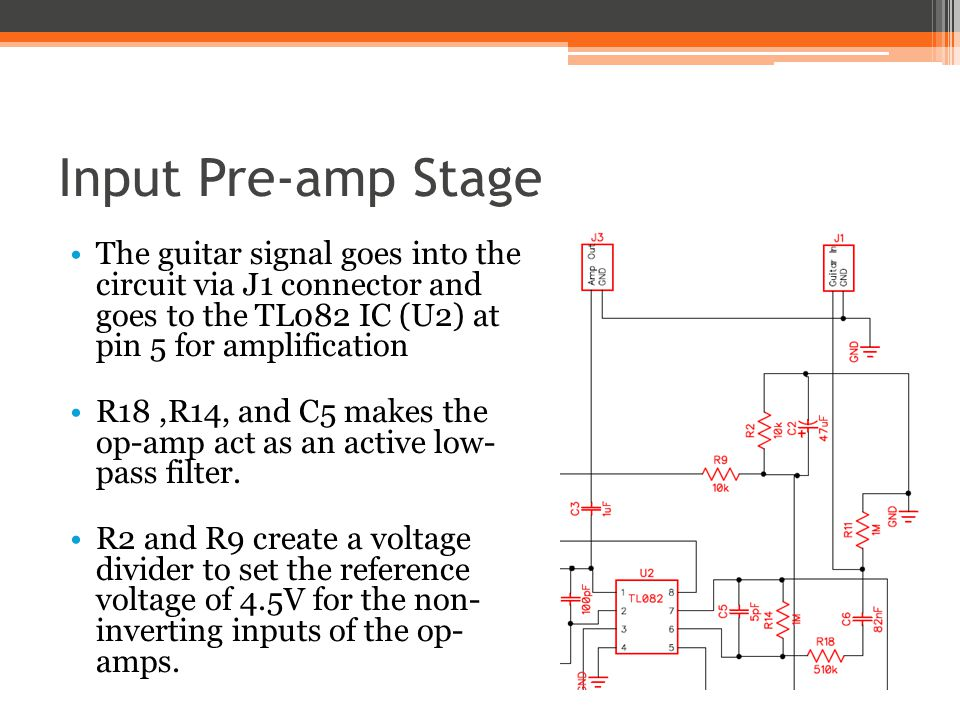 Input Pre-amp Stage The guitar signal goes into the circuit via J1 connector and goes to the TL082 IC (U2) at pin 5 for amplification.