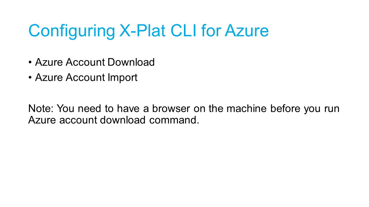 Configuring X-Plat CLI for Azure