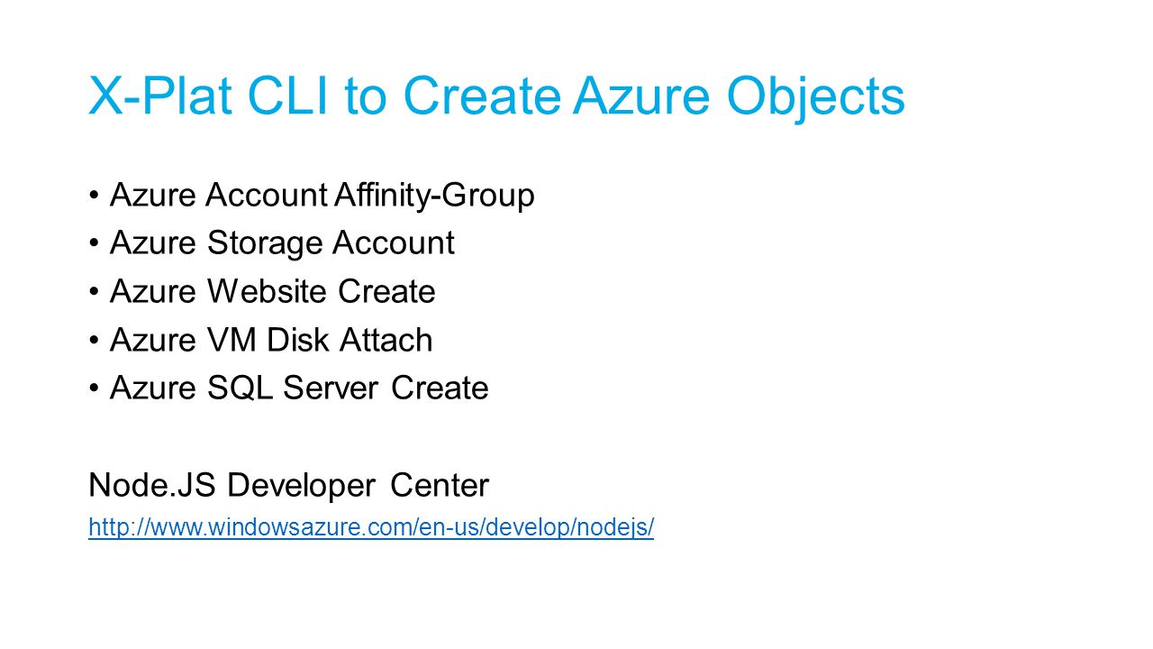 X-Plat CLI to Create Azure Objects