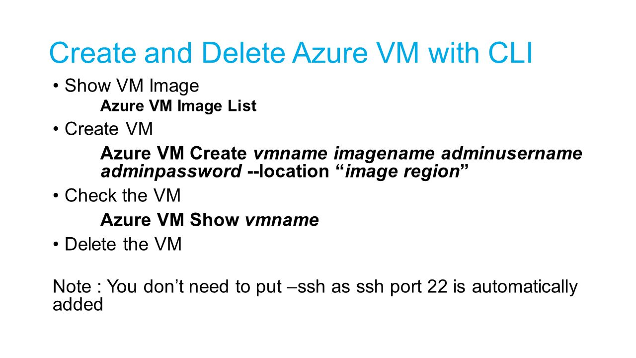 Create and Delete Azure VM with CLI
