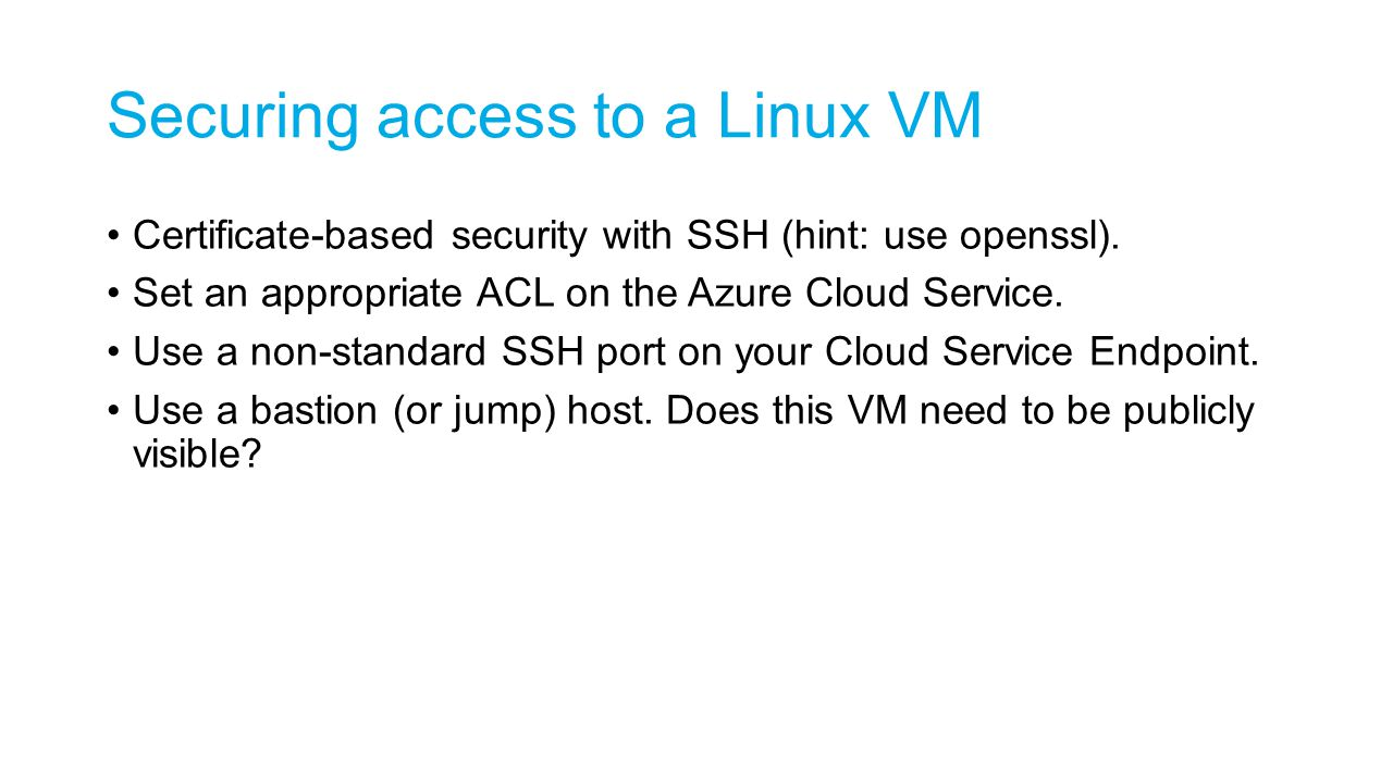 Securing access to a Linux VM