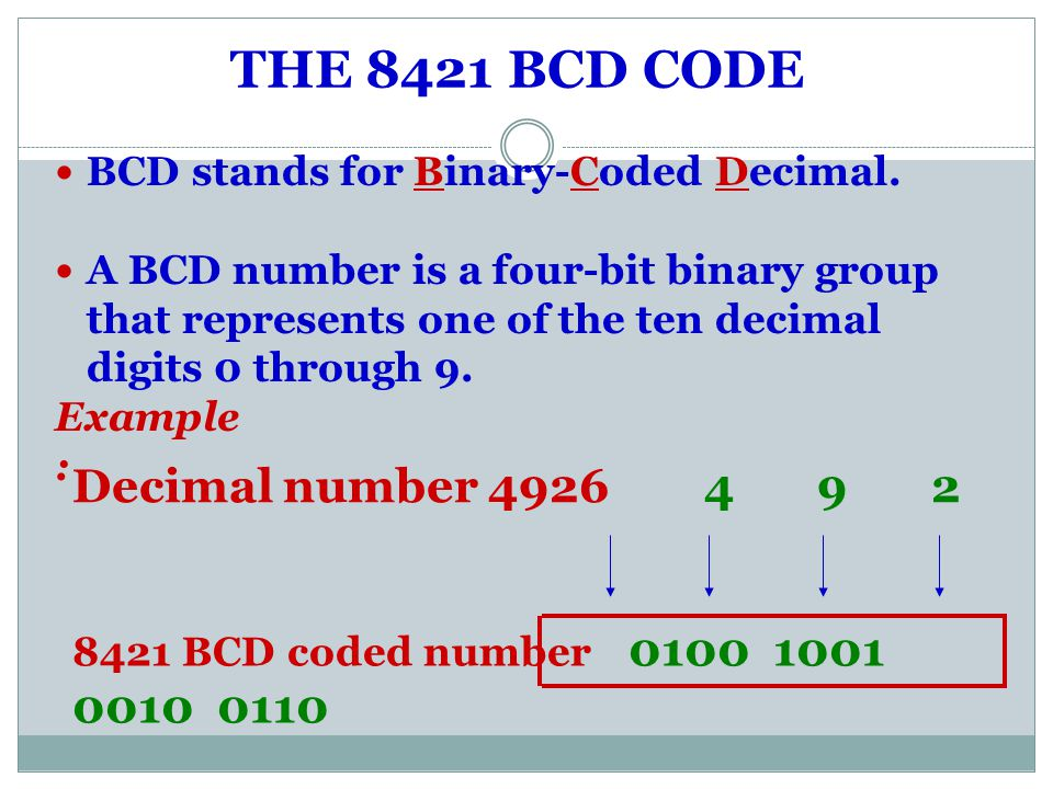 THE 8421 BCD CODE Decimal number 4926 4 9 2 6