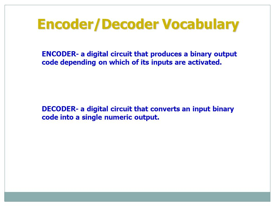 Encoder/Decoder Vocabulary