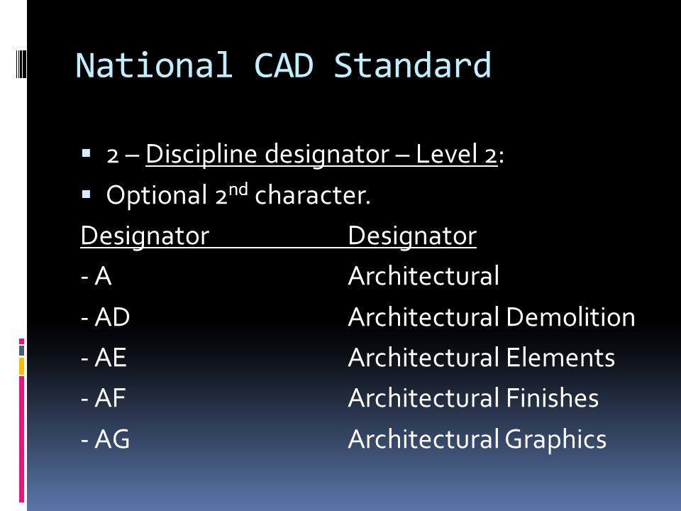 National CAD Standard 2 – Discipline designator – Level 2: