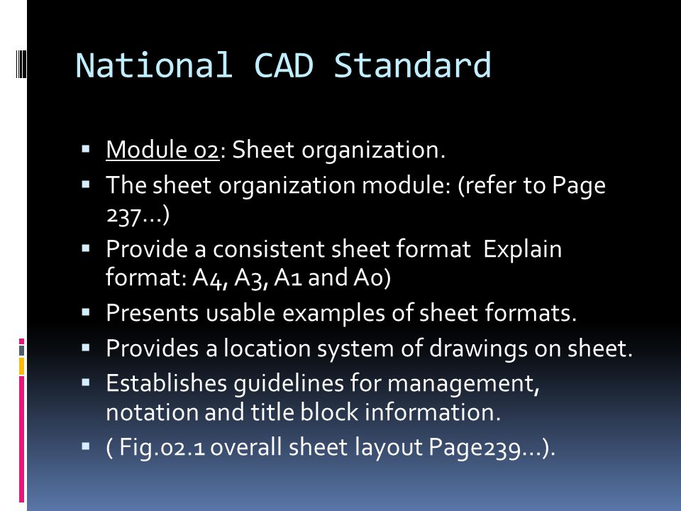 National CAD Standard Module 02: Sheet organization.