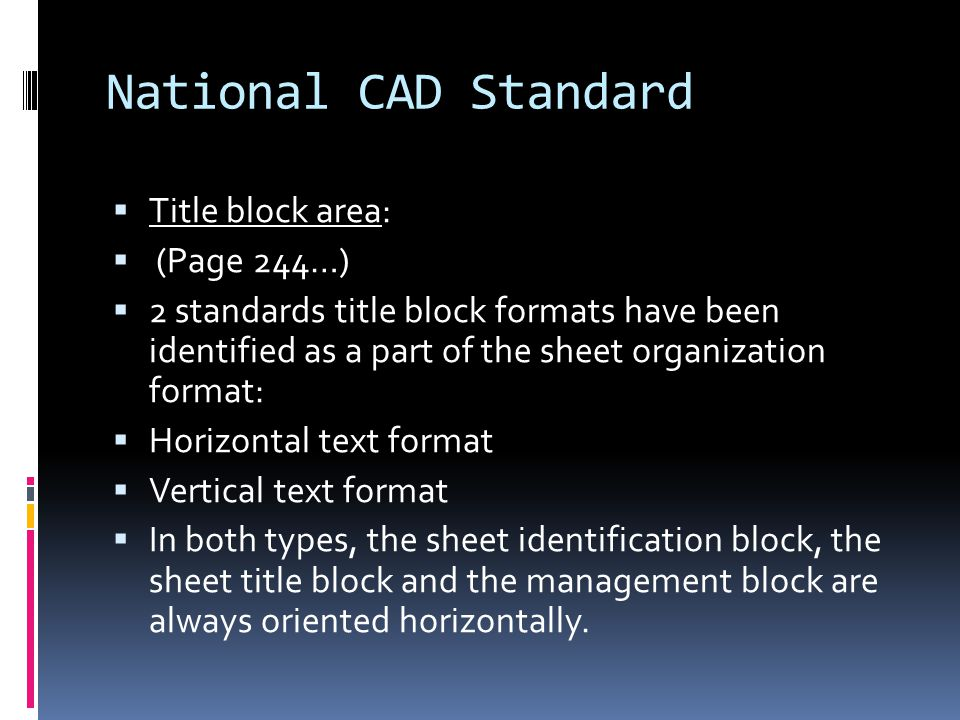 National CAD Standard Title block area: (Page 244…)