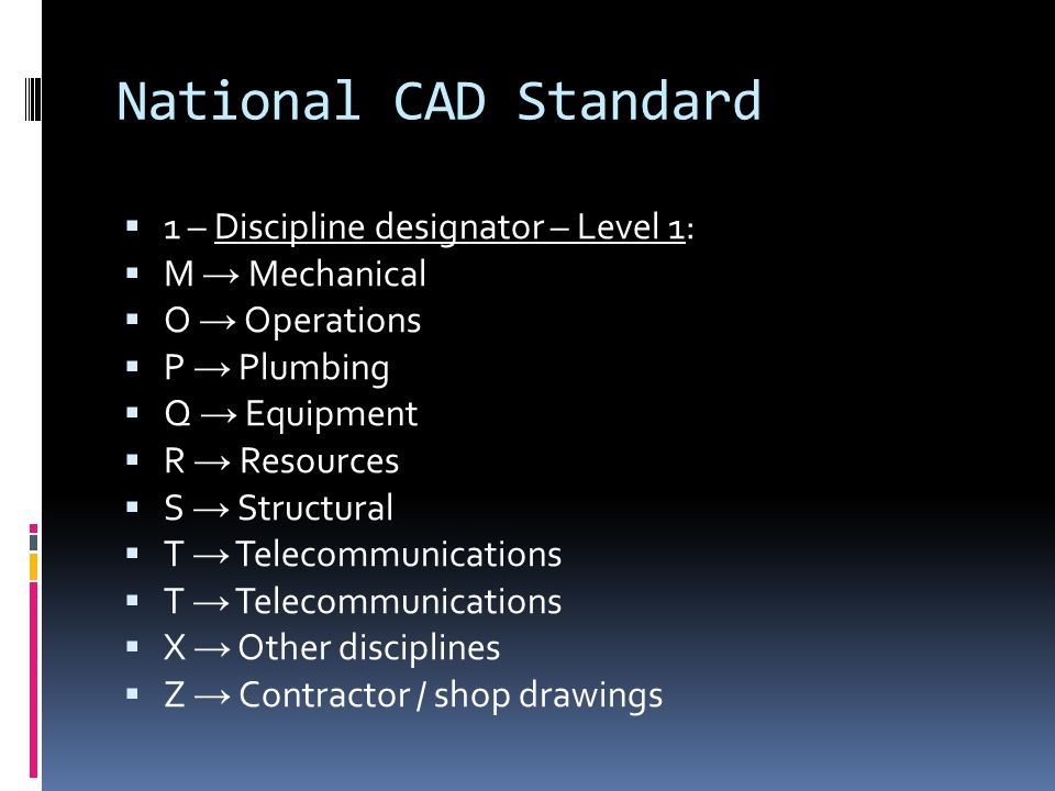 National CAD Standard 1 – Discipline designator – Level 1: