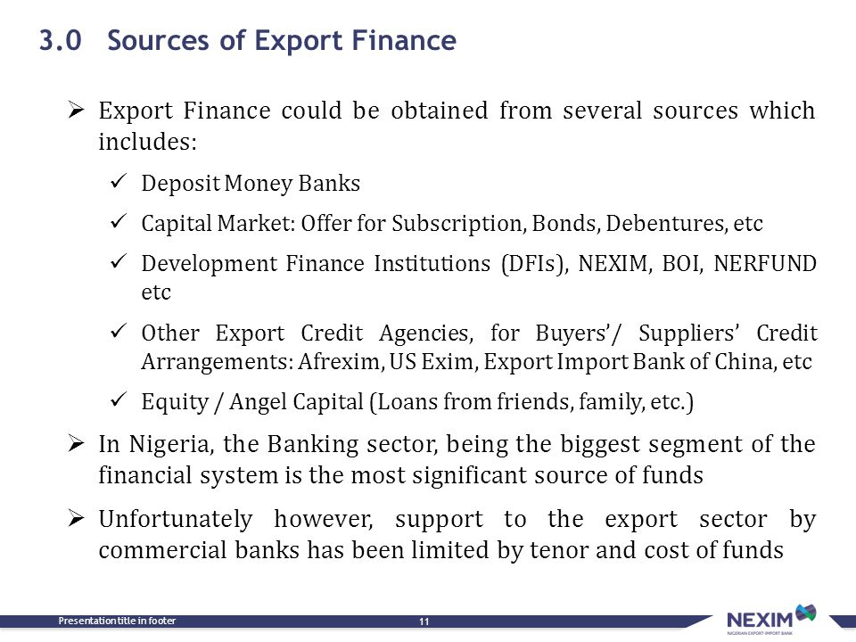 3.0 Sources of Export Finance
