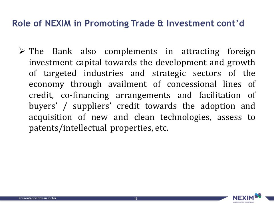 Role of NEXIM in Promoting Trade & Investment cont'd