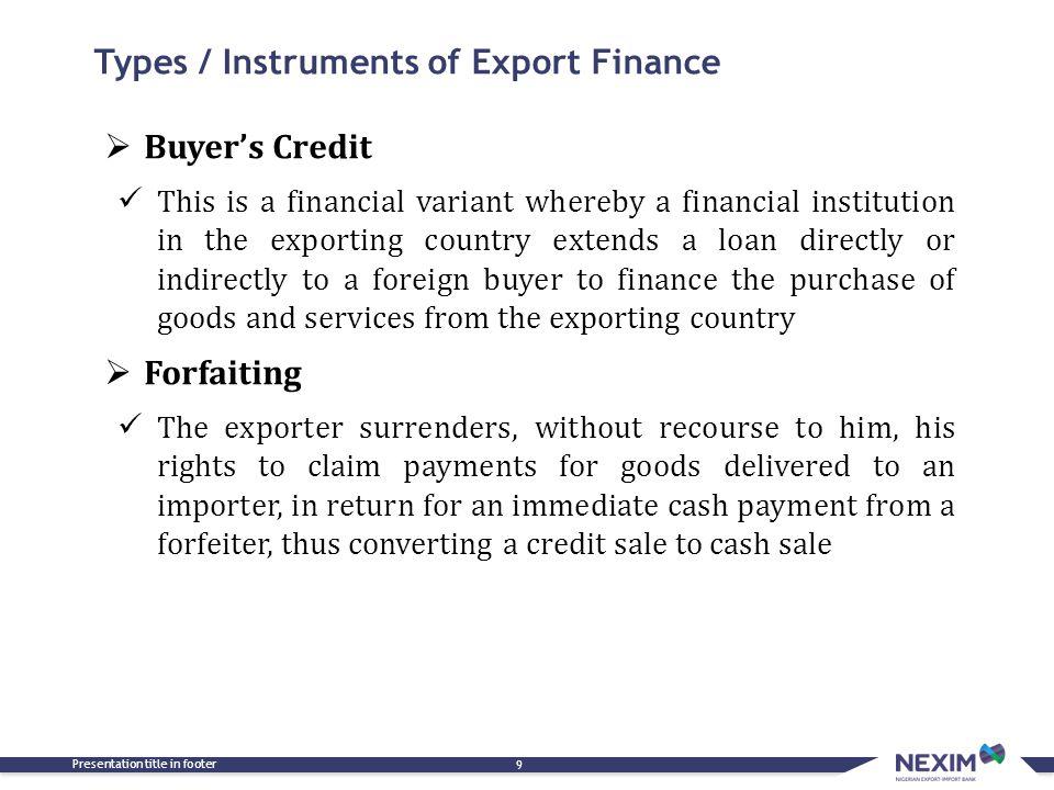 Types / Instruments of Export Finance