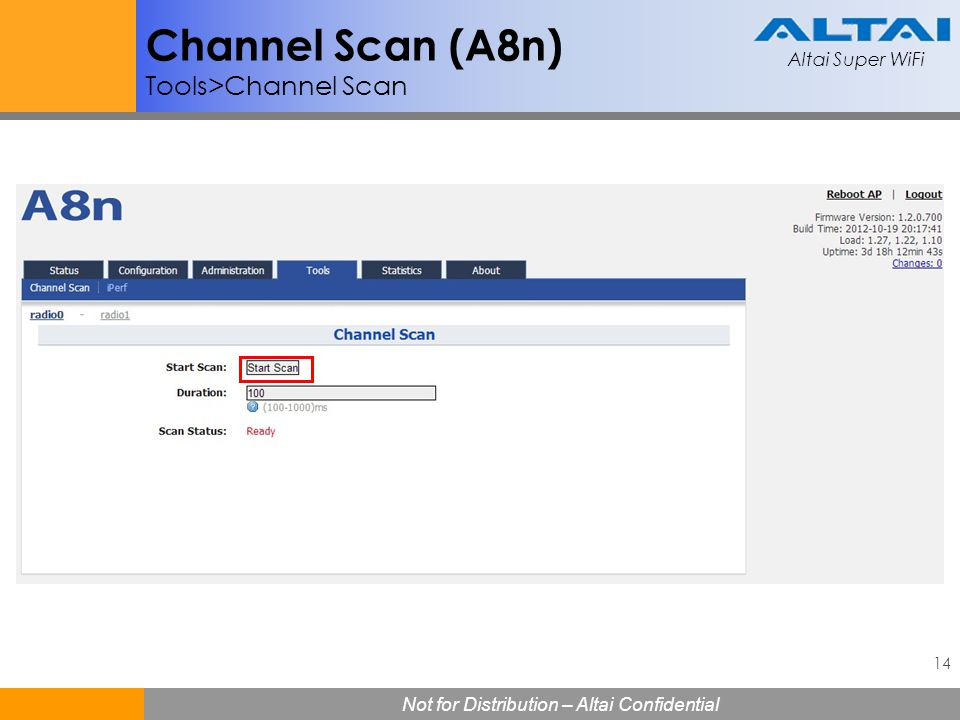 Channel Scan (A8n) Tools>Channel Scan