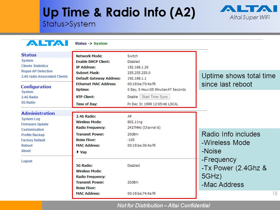 Up Time & Radio Info (A2) Status>System
