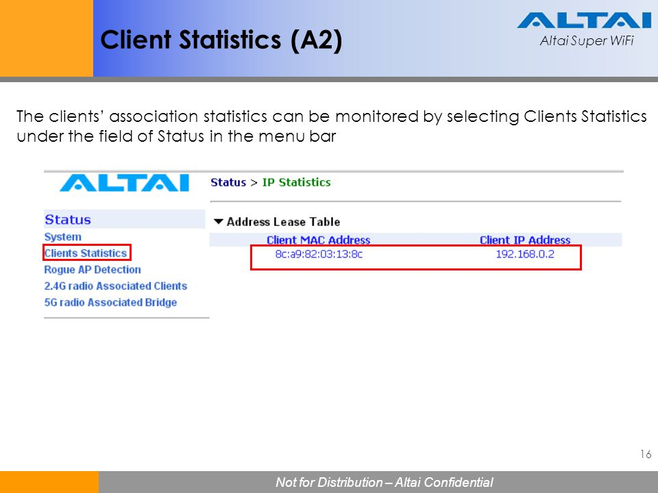 Client Statistics (A2) The clients' association statistics can be monitored by selecting Clients Statistics under the field of Status in the menu bar.