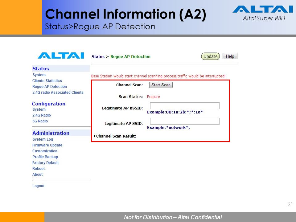 Channel Information (A2) Status>Rogue AP Detection