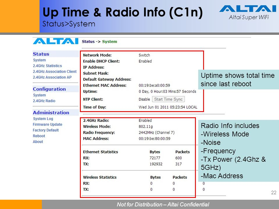 Up Time & Radio Info (C1n) Status>System
