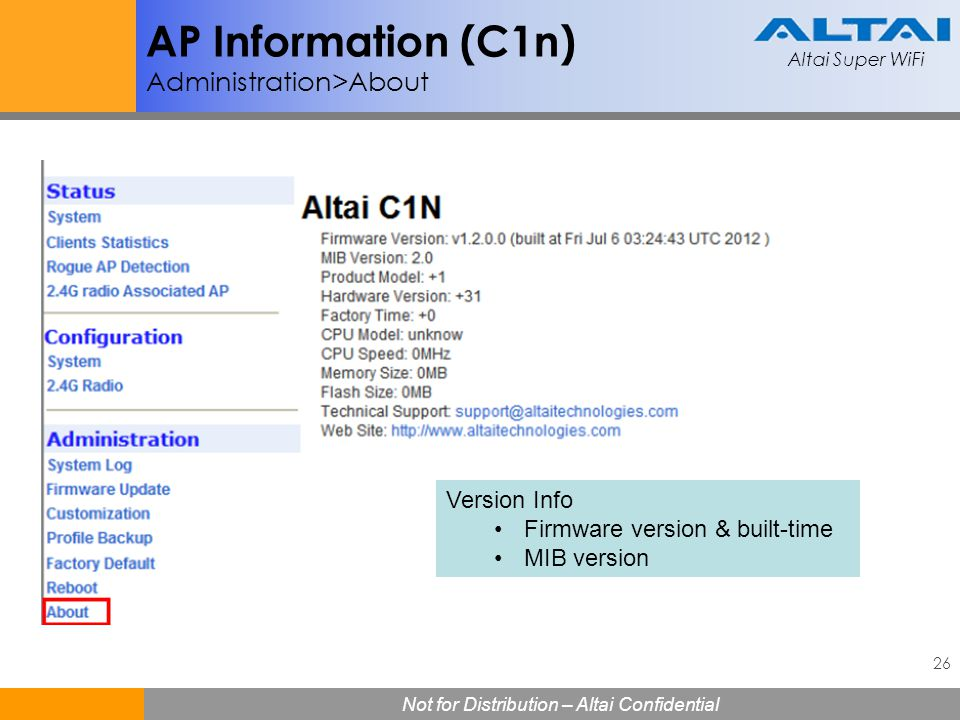 AP Information (C1n) Administration>About