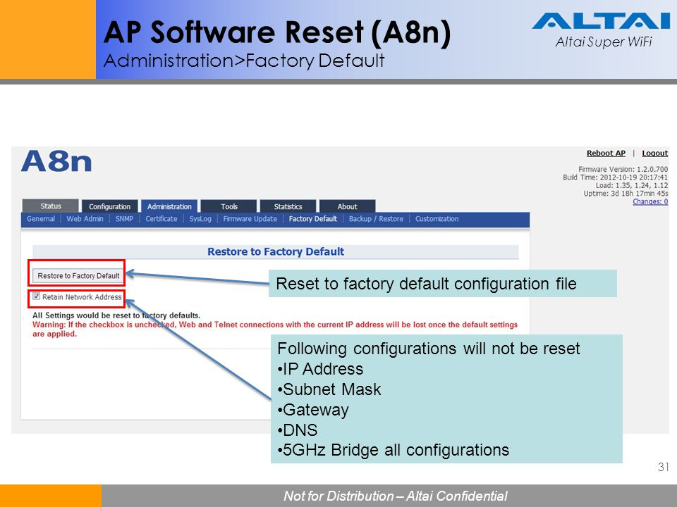 AP Software Reset (A8n) Administration>Factory Default