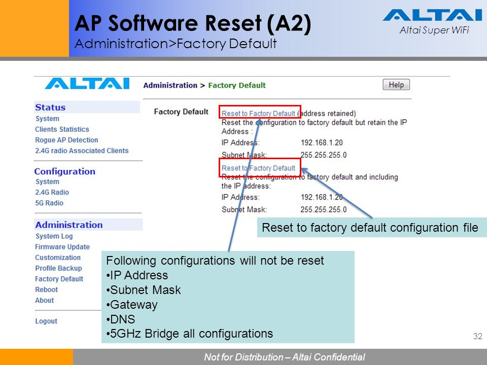 AP Software Reset (A2) Administration>Factory Default