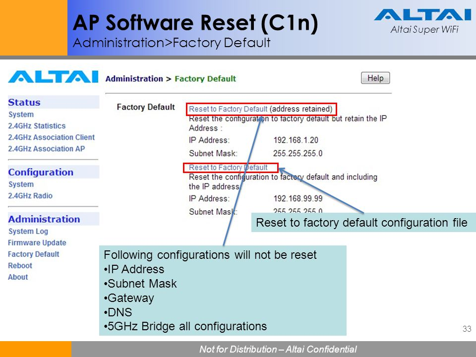 AP Software Reset (C1n) Administration>Factory Default