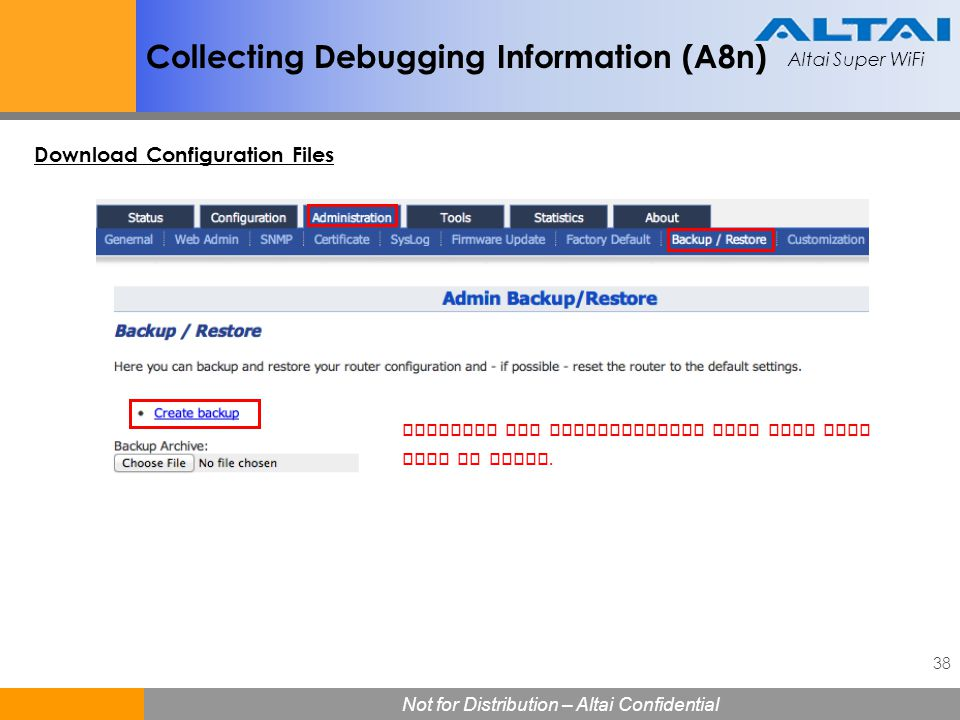 Collecting Debugging Information (A8n)