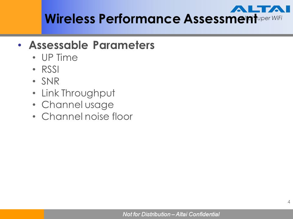 Wireless Performance Assessment