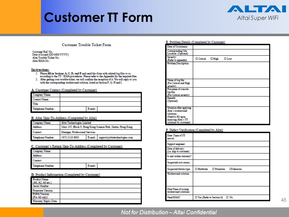 Customer TT Form
