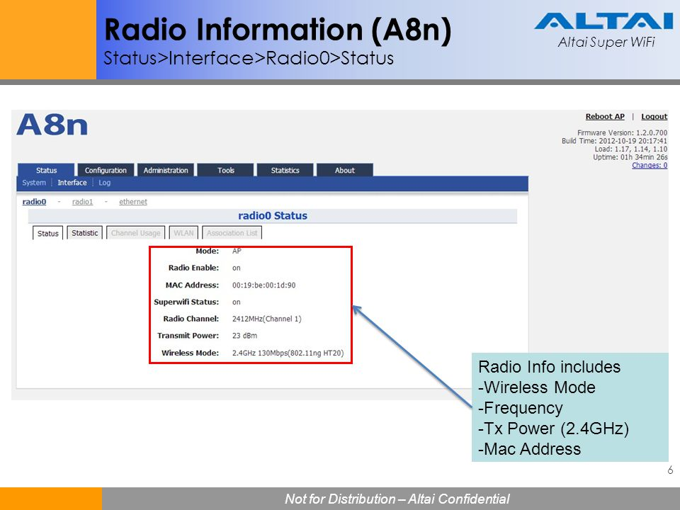 Radio Information (A8n) Status>Interface>Radio0>Status