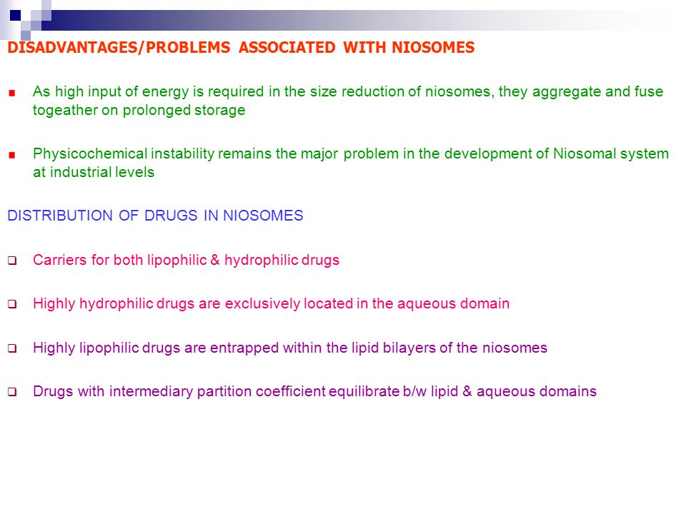 DISADVANTAGES/PROBLEMS ASSOCIATED WITH NIOSOMES