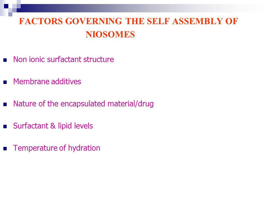 FACTORS GOVERNING THE SELF ASSEMBLY OF NIOSOMES