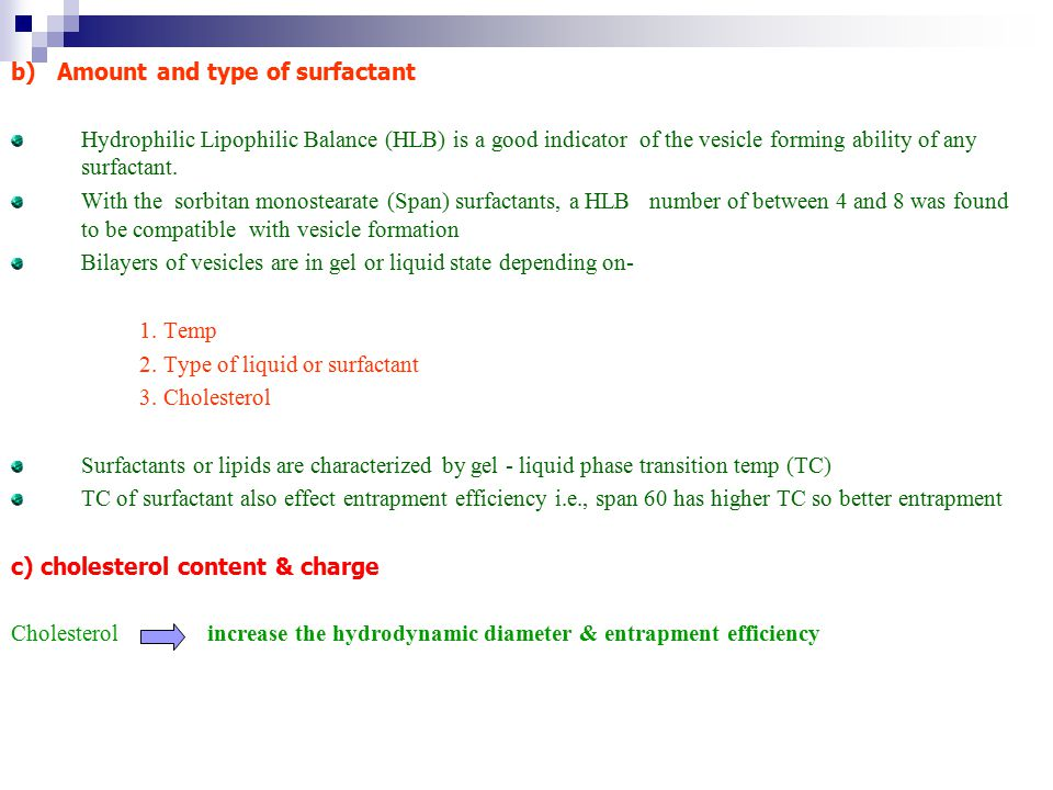 b) Amount and type of surfactant