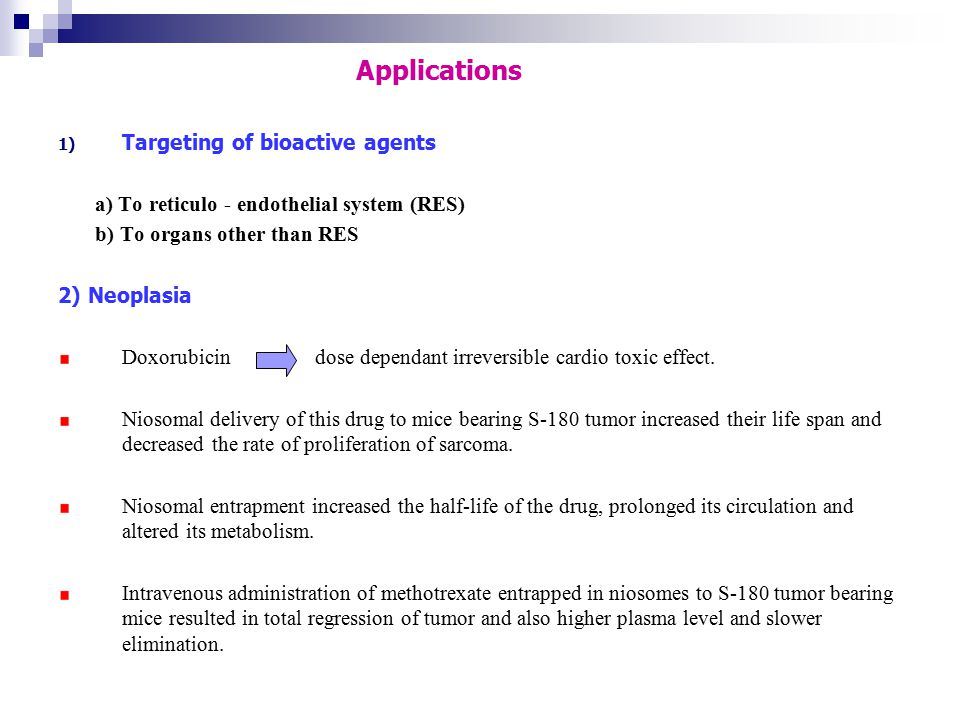 Applications Targeting of bioactive agents