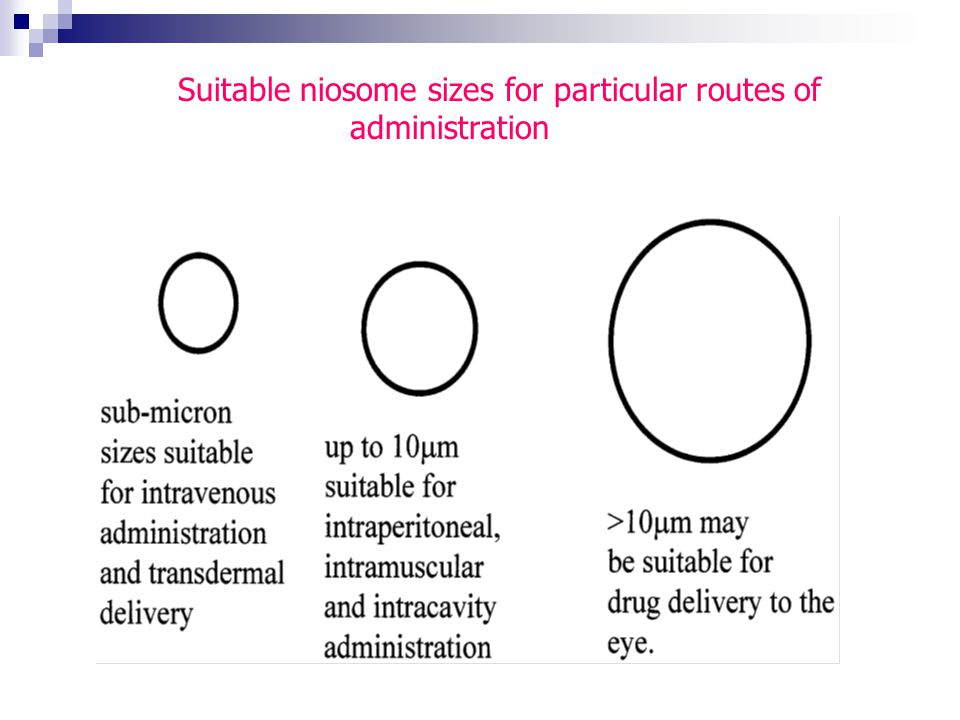 Suitable niosome sizes for particular routes of