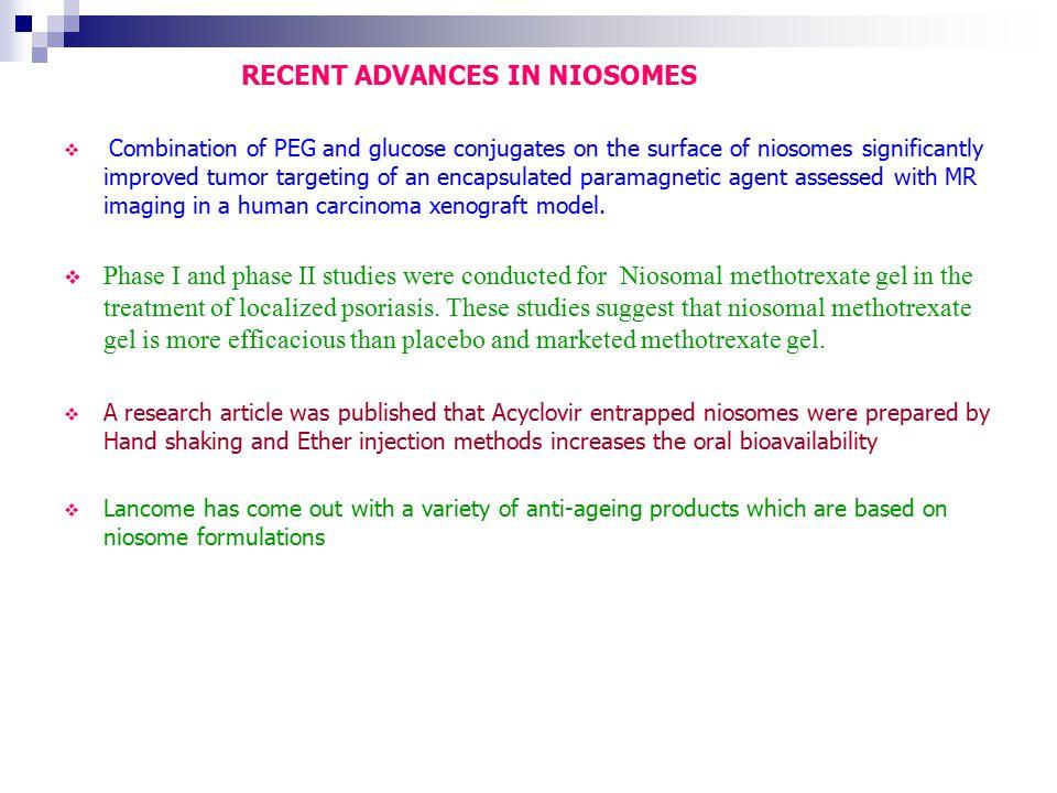 RECENT ADVANCES IN NIOSOMES