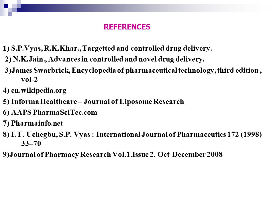 1) S.P.Vyas, R.K.Khar., Targetted and controlled drug delivery.