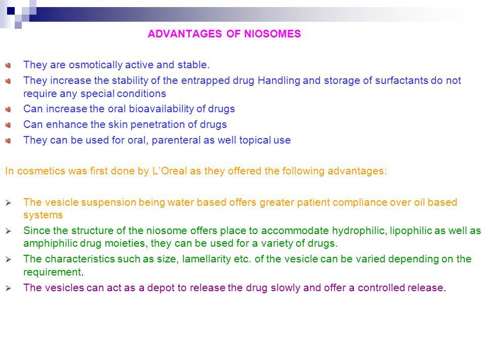 ADVANTAGES OF NIOSOMES