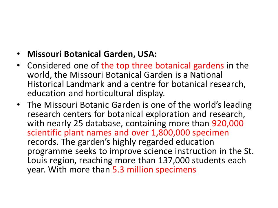 Missouri Botanical Garden, USA: